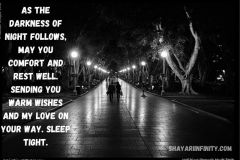 As the darkness of night follows, may you comfort and rest well. Sending you warm wishes and my love on your way. Sleep tight.